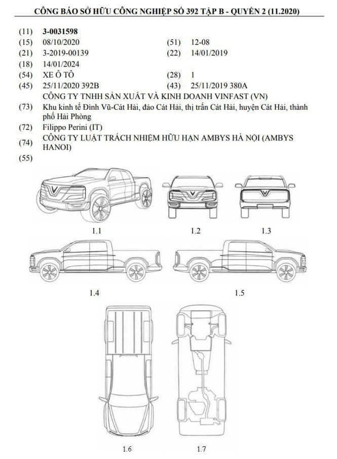 Bản phác thảo thiết kế xe bán tải VinFast